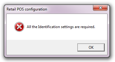 "Error Message: ""All the Identification settings are required."""